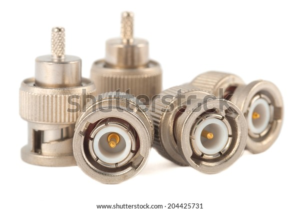 High-frequency BNC connectors isolated on white background. Gold plated pins.