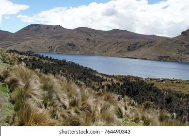 Highland lake with mountains behind it at Antisana Ecological Reserve, Ecuador