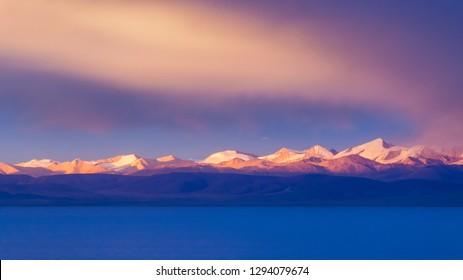 Highland lake with sunset