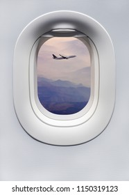 Highland landscape with airplane above the ultra violet hills with morning mist - view on mountains through the plane porthole window. Vertical poster for your concept of passenger air transport.