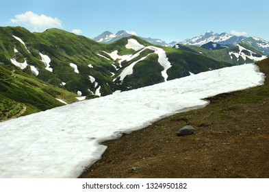 Highland pass, mountains with snowcaps in Abkhazia