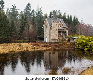 Highland, Scotland. The Gate House for the Ardverikie Estate on the River Pattack near Kinloch Laggan.