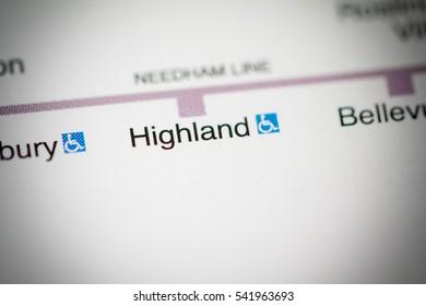 Highland Station. Boston Metro map.