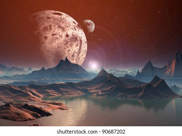 The Highlands Of Nidora, mountains and lakes on an alien planet