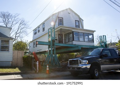 HIGHLANDS, NJ - OCTOBER 15:  Rebuilding continues on the Jersey Shore nearly one year after Hurricane Sandy hit New Jersey. Photo taken October 15, 2013.