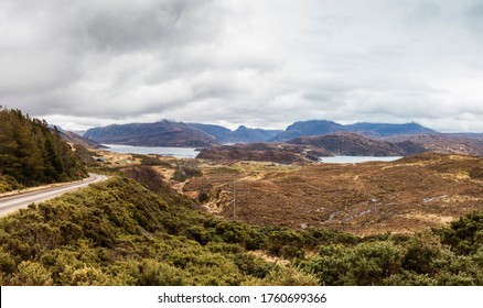 "Highlands, Scotland. Landscape in the region of Assynt with lakes and mountains. The name ""Assynt"" comes of a Norse word meaning ""rocky ridge"", because Vikings occupied this region in the 11th century"