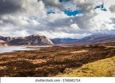 Highlands, Scotland. Overlook on Loch Eriboll with clouds and mountains, along the A838 road. Loch Eriboll is located on the north coast of Scotland. - Shutterstock ID 1760681714