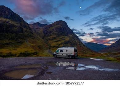 Highlands, Scotland - September 15, 2020: wild camping with modern European van conversion