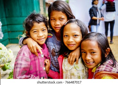 Highlands, Vietnam - Dec 5, 2015. Group of ethnic girls at mountain village in Central Highlands, Vietnam. The Highlands is a plateau bordering the lower part of Laos and Cambodia.