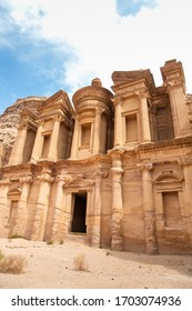 Highlight of Petra, the amazing Ad Deir, The Monastery with blue sky