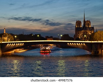 Highlighted from boat houses on Seine, Paris, France