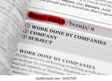 Highlighted business definition in close-up