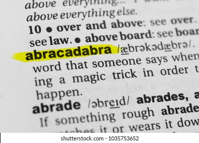 "Highlighted English word ""abracadabra"" and its definition in the dictionary."