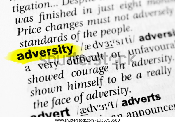 Highlighted English Word Adversity Definition Dictionary
