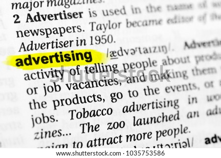 Highlighted English Word Advertising Definition Dictionary Stock