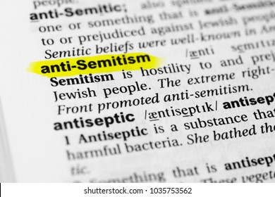 """Highlighted English word """"anti semitism"""" and its definition in the dictionary."""