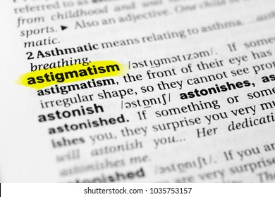 """Highlighted English word """"astigmatism"""" and its definition in the dictionary."""