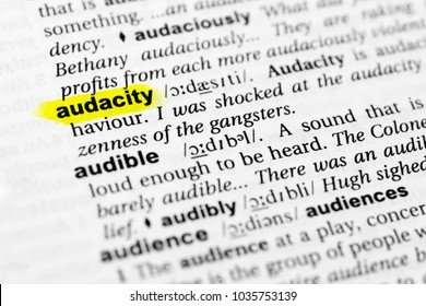 """Highlighted English word """"audacity"""" and its definition in the dictionary."""