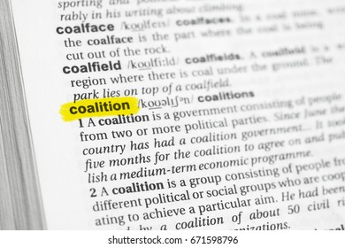 """Highlighted English word """"coalition"""" and its definition at the dictionary."""