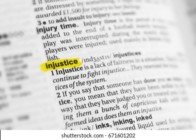 """Highlighted English word """"injustice"""" and its definition at the dictionary."""