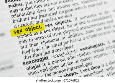 """Highlighted English word """"sex object"""" and its definition at the dictionary."""