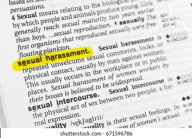 """Highlighted English word """"sexual harrasement"""" and its definition at the dictionary."""