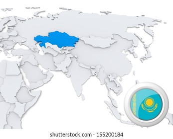 Highlighted india on map asia national stock illustration 155200151 highlighted kazakhstan on map of asia with national flag gumiabroncs Image collections