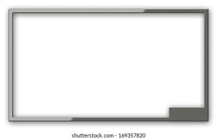 Highlighted monitor frame texture with plastic effect. Empty surface, shadowed white background space with place for text, photo or image. Two clipping path included