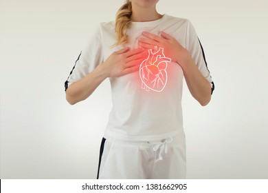highlighted red heart disease on woman body