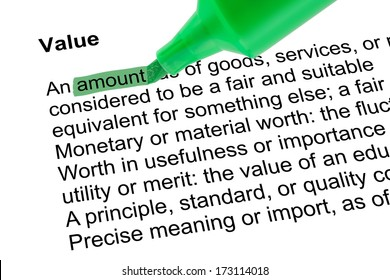Highlighted word amount for Value with green pen over white paper. Isolated white background.