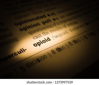 A highlighted word in a page that reads: opioid