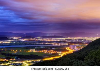Highlights of Daegu at night in South Korea.