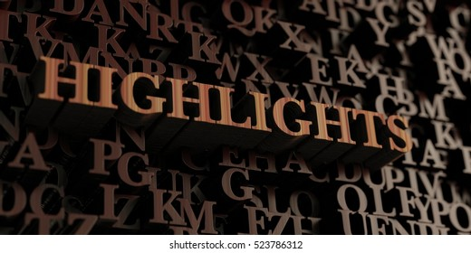 Highlights - Wooden 3D rendered letters/message.  Can be used for an online banner ad or a print postcard.