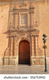 Highly decorated entrance to Santa Maria Basilica in Elche, Alicante, Spain