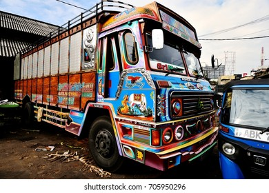Highly decorative truck in Colombo market, Sri Lanka, January 2017