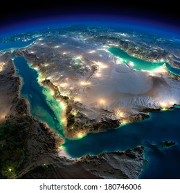 Highly detailed Earth, illuminated by moonlight. The glow of cities sheds light on the detailed exaggerated terrain. Night Earth. Saudi Arabia. Elements of this image furnished by NASA