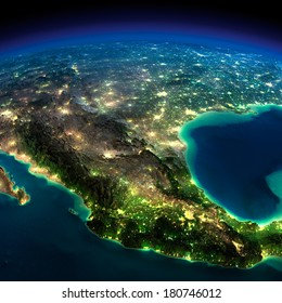 Highly detailed Earth, illuminated by moonlight. The glow of cities sheds light on the detailed exaggerated terrain. North America. Mexico. Elements of this image furnished by NASA