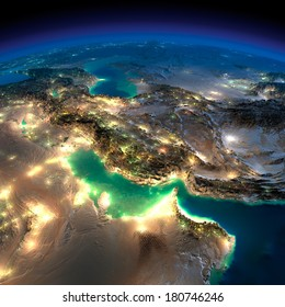 Highly detailed Earth, illuminated by moonlight. The glow of cities sheds light on the detailed exaggerated terrain. Night Earth. Persian Gulf. Elements of this image furnished by NASA