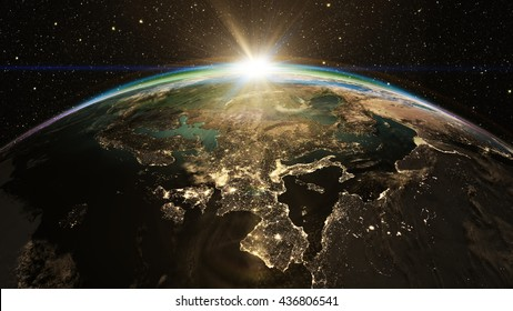 Highly detailed epic sunrise over world skyline. Planet earth Europe zone with night time city. 3D Rendering using satellite imagery (NASA)