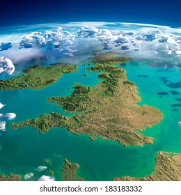Highly detailed fragments of the planet Earth with exaggerated relief, translucent ocean, illuminated by the morning sun. United Kingdom and Ireland. Elements of this image furnished by NASA