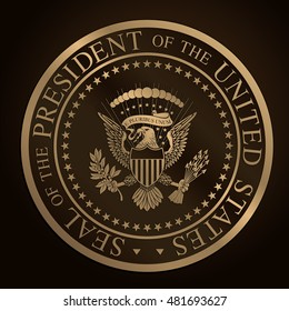 Highly detailed, gold, embossed, monochromatic design the official Seal of the President of the United States. Editorial Illustration