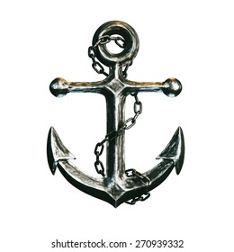Highly detailed metallic anchor isolated on white background!