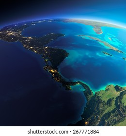 Highly detailed planet Earth. Night with glowing city lights gives way to day. The boundary of the night & day.  The countries of Central America. Elements of this image furnished by NASA