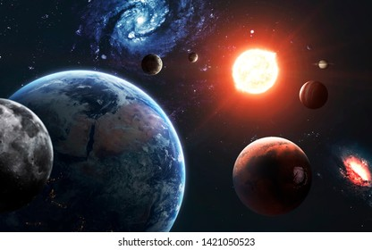 Highly detailed solar system visualisation with galaxies. Elements of this image furnished by NASA