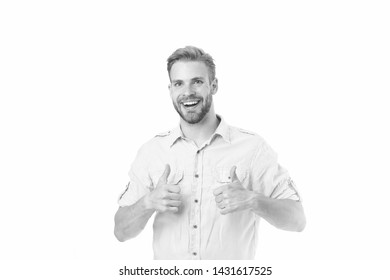 Highly recommend. Guy shows thumbs up gesture. Man confidently highly recommend white background. Guy with bristle recommend excellent item. Man shop consultant looks confident and hospitable.