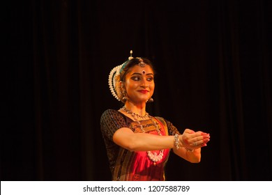 A highly talented junior Odissi dancer doing a namaskar during the Odissi evening recital event on October 19,2018 at Bharatiya Vidhya Bhavan in Bengaluru,India