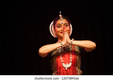 A highly talented junior Odissi dancer greets the crowd during the Odissi evening recital event on October 19,2018 at Bharatiya Vidhya Bhavan in Bengaluru,India