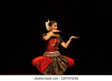 A highly talented junior Odissi dancer looks at the ocean during the Odissi evening recital event on October 19,2018 at Bharatiya Vidhya Bhavan in Bengaluru,India