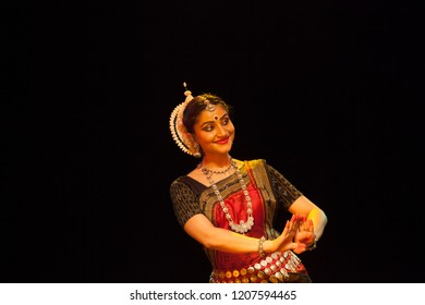 A highly talented junior Odissi dancer smiles coyly at the lord during the Odissi evening recital event on October 19,2018 at Bharatiya Vidhya Bhavan in Bengaluru,India