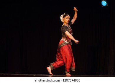 A highly talented junior Odissi dancer swells in pride during the Odissi evening recital event on October 19,2018 at Bharatiya Vidhya Bhavan in Bengaluru,India